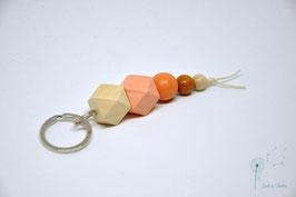 Schlüsselanhänger Holz / natur & apricot, braun