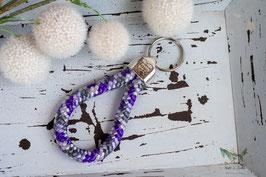 Schlüsselanhänger Segeltau / lila, grau und weiß / das Leben ist besser mit Pfote
