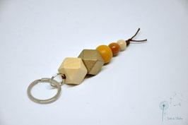 Schlüsselanhänger Holz / natur & gold, braun