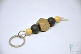 Schlüsselanhänger Holz / gold & grau & natur