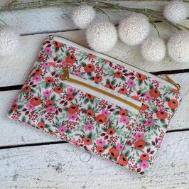 Kosmetiktasche / Devon Pouch / klein / Blumen / natur & apricot und rosa