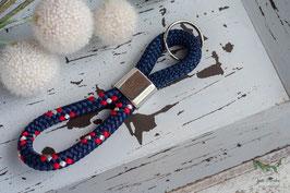 Schlüsselanhänger Segeltau / blau und rot / Ankersymbol