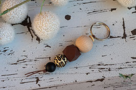Schlüsselanhänger Holz & Silikonkugel / braun & natur