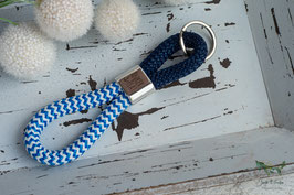 Schlüsselanhänger Segeltau / hellblau und dunkelblau / Ankerplatz