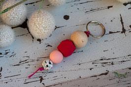 Schlüsselanhänger Holz & Silikonkugel / magenta & rosa