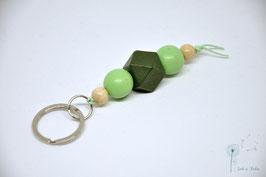 Schlüsselanhänger Holz / mint & grün & natur