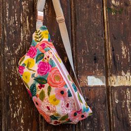 Beuteltasche Valentina / large /  Blumen / apricot, natur & rosa