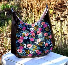 Umhängetasche Eileen Bag / Blumen dunkelblau / braun
