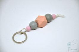 Schlüsselanhänger Holz / rosa & grau