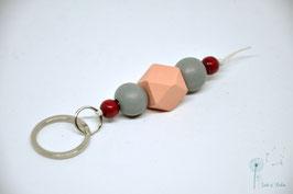 Schlüsselanhänger Holz / rosa grau & weinrot