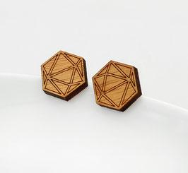 Geometrische Ohrstecker Holz - Polyhedra