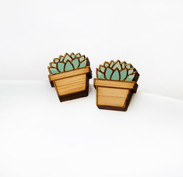 Sukkulenten Ohrstecker Holz