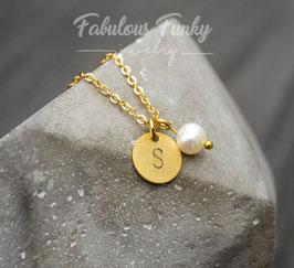 Initialen Kreis Kette mit Perle - Goldfarben