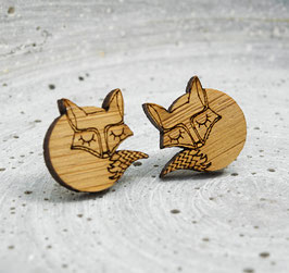 """Sleepy Fox"" Ohrstecker Holz"