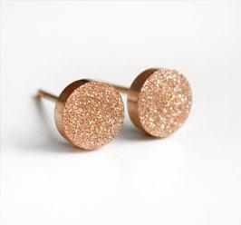 """""""Glitter Circle"""" Ohrstecker Silber / Gold oder Rose Gold"""
