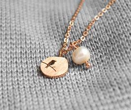 Vogelkette mit Perle