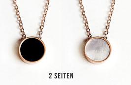 Little Dot - 2-Seitiger Anhänger Perlmutt/Schwarz