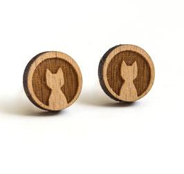 Katzen-Ohrstecker aus Holz