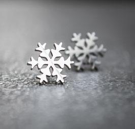 Schneeflocken Ohrstecker - Glatt