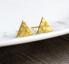 Gehämmerte Dreieckohrstecker Gold/Silber