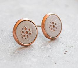 Minimalistische Ohrstecker - Dots Rose Gold / Grau