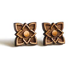Lotus-Blüten Holz Ohrstecker