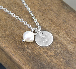 Initialen Kreis Kette mit Perle - Silberfarbene