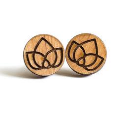Geometrische-Blüten Holz Ohrstecker