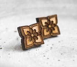 Lotus-Blüten Holz Ohrstecker #2