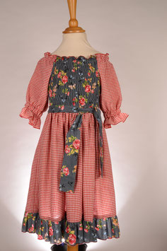 Elastisches Feincord/Karo Dress with Roses