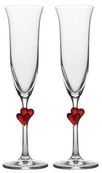 Sektglas Champagner Glas Herzen rot L´Amour