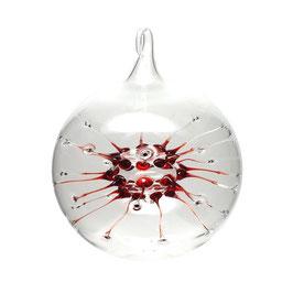 Spinnenkugel Glaskugel klar/rot