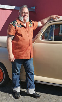 50 er Jahre Bowlinghemd Texas rehbraun / Hawaii
