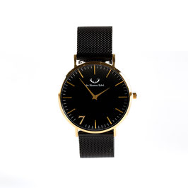 "Armbanduhr ""Se7en"" Black Gold (Meshstrap Black) 40mm"