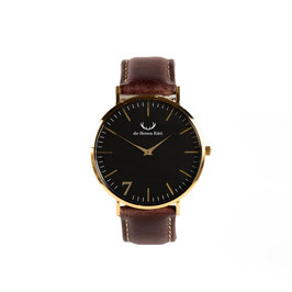 "Armbanduhr ""Se7en"" Black Gold (Leatherstrap) 40mm"