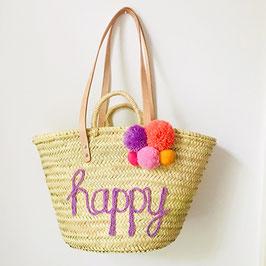 Korbtasche personalisiert HAPPY