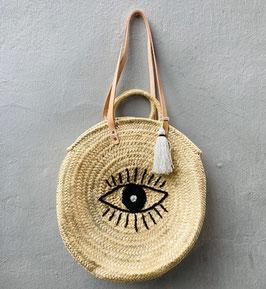 Runde Korbtasche mit gesticktem Auge