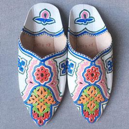 Marokkanische Ethno-Babouche HAMSA weiß