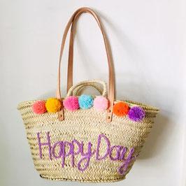 Korbtasche personalisiert HAPPY DAY