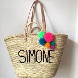 Korbtasche groß mit Name und fünf Pompons, personalisiert, Druckschrift