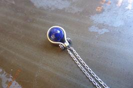 Petit pendentif goutte en argent avec lapis-lazuli vissé