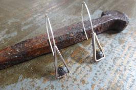 Boucles d'oreille longues triangles en argent et pierre de lave vissée
