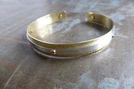 Bracelet réglable en argent et laiton pour homme ou mixte