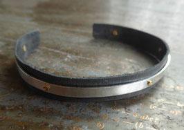 Bracelet réglable en cuir et argent vissé pour homme ou mixte