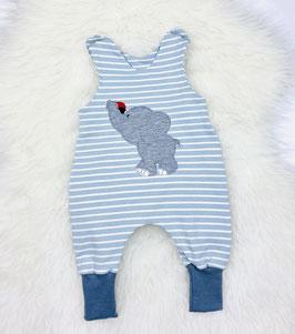 Babystrampler, Elefant, grau, Streifen