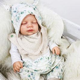 Babyset Strampler, Öhrchenmütze, Halstuch Eukalyptus