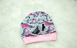 Beanie Mütze Kindermütze rosa Schuhe KU 50