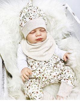 Babyset Strampler Knotenmütze Blumen