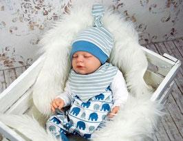 Babyset Elefant 3-teilig blau-weiß-grau