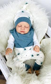 Babyset Strampler, Knotenmütze, Halstuch, beige-petrol, Pusteblume